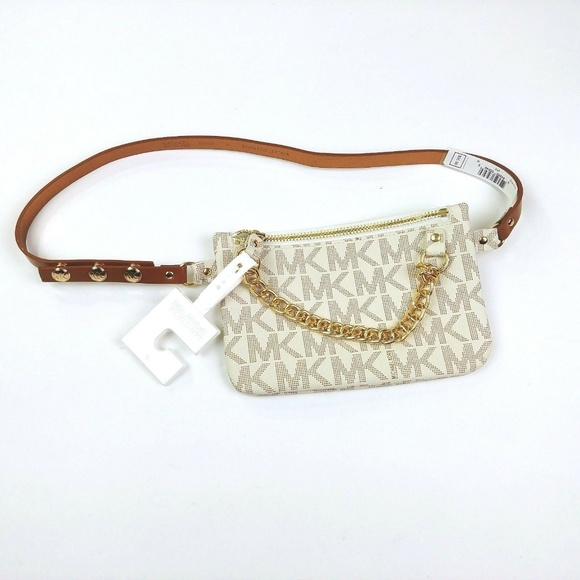 f068ef13e0adc2 Michael Kors Accessories | Mk Logo Vanilla White Fanny Pack Belt ...
